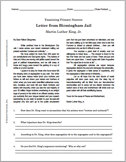 MLK's Letter from Birmingham Jail - DBQ worksheet is free to print (PDF file). For high school United States History students.
