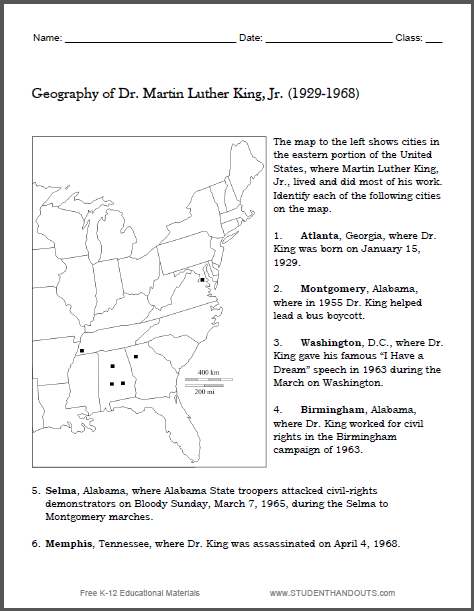 Martin Luther King Map Worksheet Student Handouts