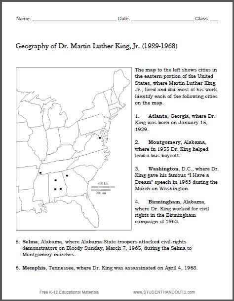 Martin Luther King Map Worksheet - Free to print (PDF file).