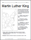Dr. Martin Luther King, Jr., Map Worksheet