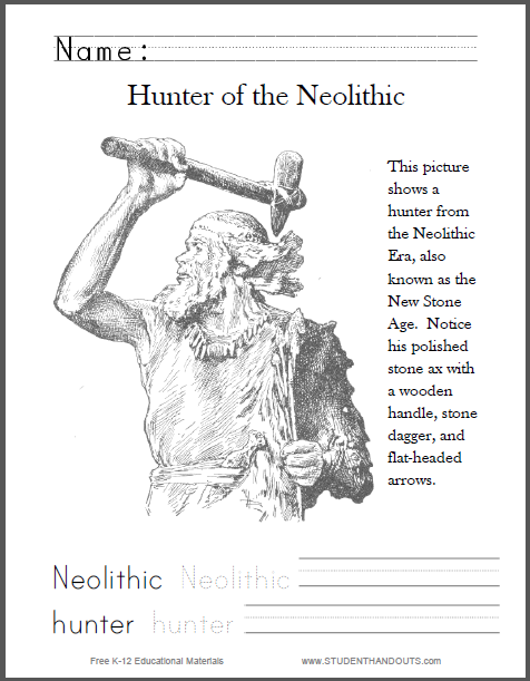 Hunter of the Neolithic Era Coloring Page - Free to print (PDF file). Includes handwriting and spelling practice.