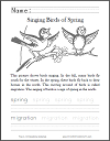 Singing Birds of Spring Primary School Worksheet