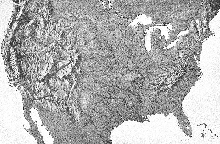Contiguous United States Relief Map | Student Handouts