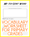 My 50-cent Word Vocabulary Worksheet