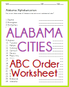 Alabama Cities in ABC Order Worksheet