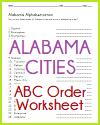 Alabama Cities in ABC Order Worksheet