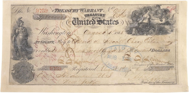 Canceled Check for the Purchase of Alaska (1868)