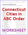 Connecticut Cities in ABC Order Worksheet