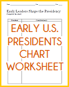 Early Presidents Chart Worksheet