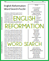 English Reformation Word Search Puzzle