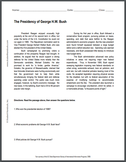 The Presidency of George H.W. Bush - Free printable reading with questions for high school United States History students.