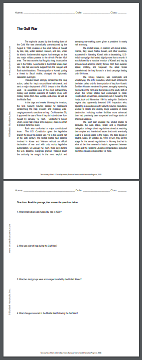 """""""The Gulf War"""" - Free printable reading with questions for high school United States History students. PDF file."""