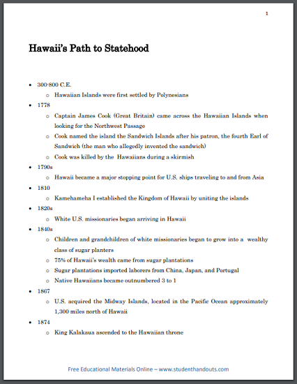 Hawaii's Path to Statehood - Free printable timeline/outline of Hawaiian history (PDF file).