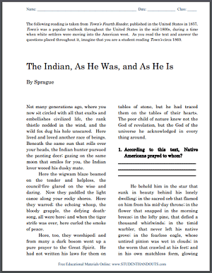 DBQ on Native Americans (1857) - Free to print (PDF file) for high school United States History students.