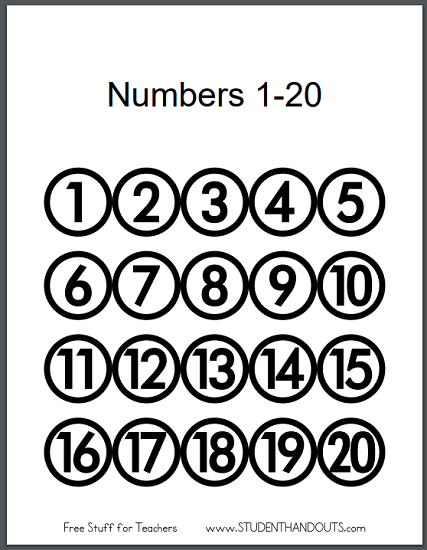photograph about Numbers 1 20 Printable referred to as Printable Figures 1-20 for Clrooms University student Handouts