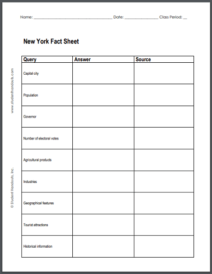 New York State Facts Worksheet - Free to print (PDF file). For grades four and up.