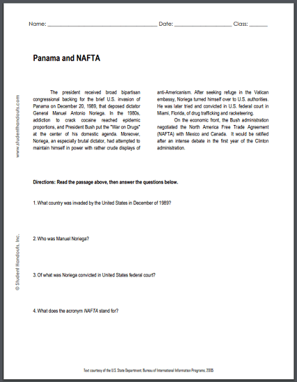 Panama and NAFTA - Free printable reading with questions (PDF file) for high school United States History students.
