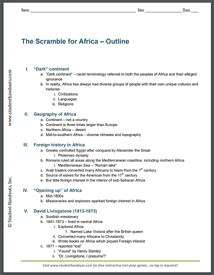 Scramble for Africa - Free printable 5-page outline for high school World History students. #imperialism