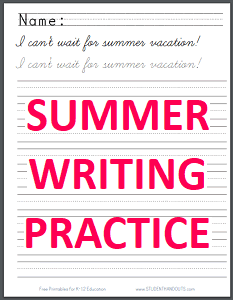 Summer Season Handwriting Practice Worksheets - Free to print (PDF files).