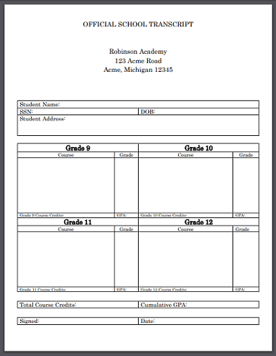 Official High School Transcript Template for Homeschool - Word or PDF