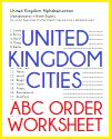 Cities of the U.K. in ABC Order Worksheet