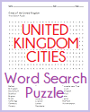 Cities of the U.K. Word Search Puzzle