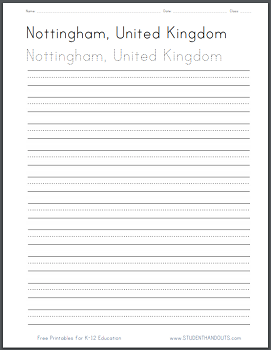 United Kingdom Handwriting and Spelling Practice Worksheets - Free to Print (PDF Files)