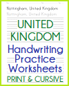 United Kingdom Handwriting and Spelling Practice Worksheets