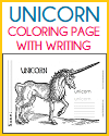 Unicorn Coloring Page with Handwriting and Spelling Practice