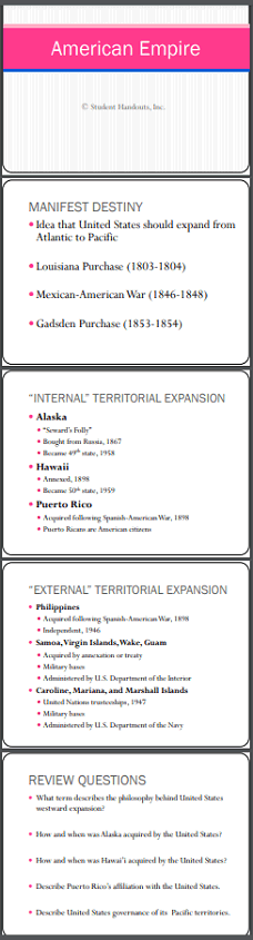 """American Empire"" - PowerPoint Presentation - 5 slides with 5 review questions - Select your preferred version to download or print."