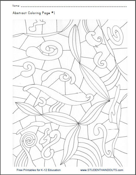 Abstract Coloring Page #1 Student Handouts