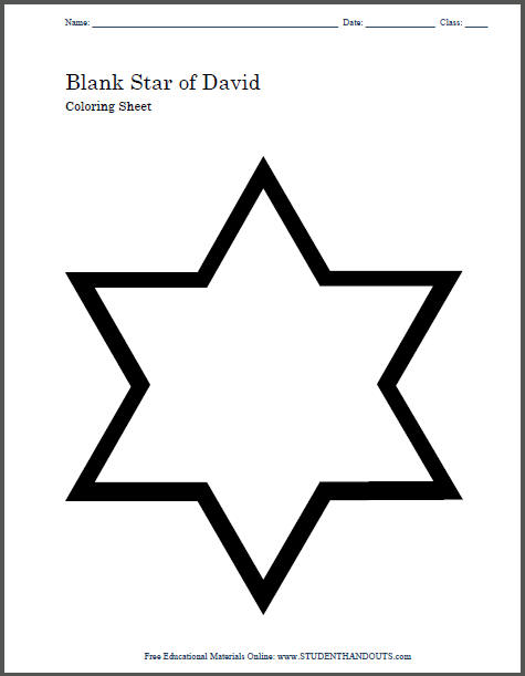 Blank Star of David Coloring Page | Student Handouts