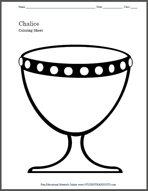 Chalice Religious Drinking Vessel Coloring Sheet for Kids