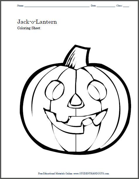 Jack-o-Lantern Free Printable Coloring Sheet for Kids