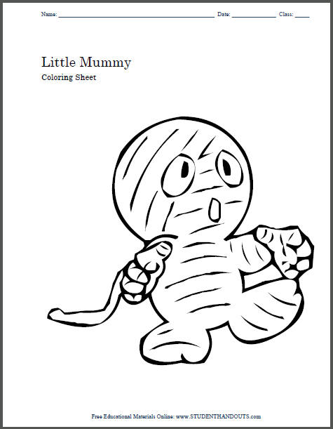 Little Halloween Mummy to Color | Student Handouts