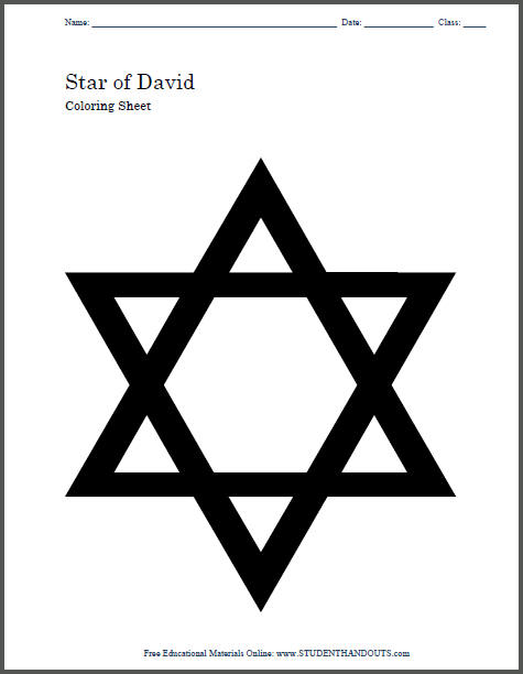 Star of David Coloring Page and Craft Template for Kids