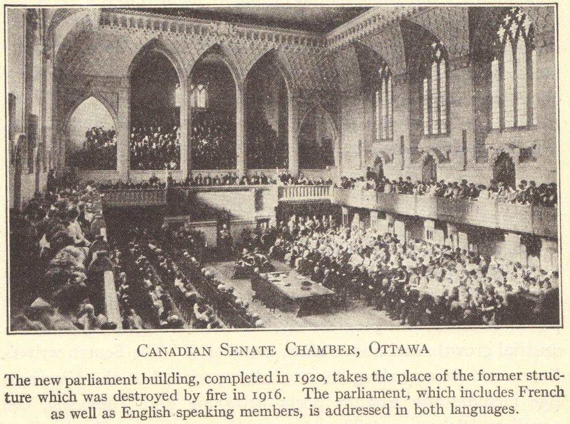 Canadian Senate Chamber, Ottawa, Ontario, Canada, 1920.