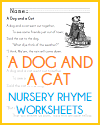 """A Dog and a Cat"" Nursery Rhyme Worksheets"