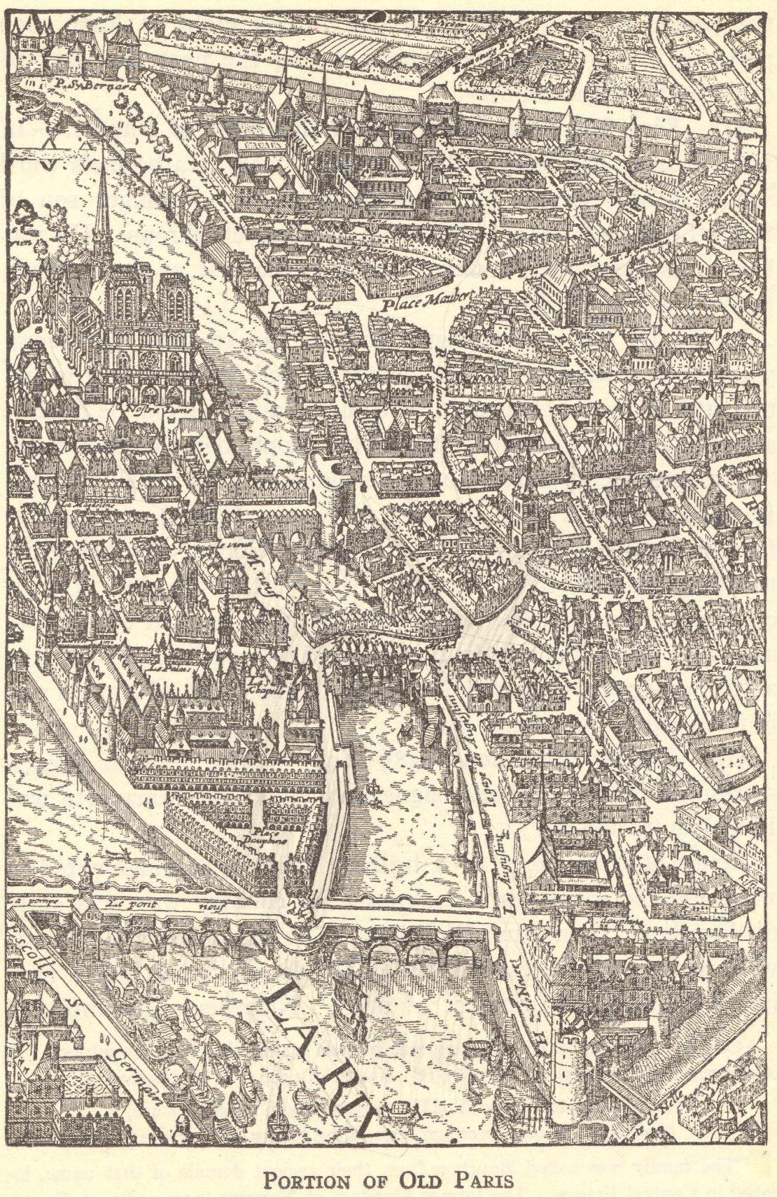 Map of Renaissance Paris, France