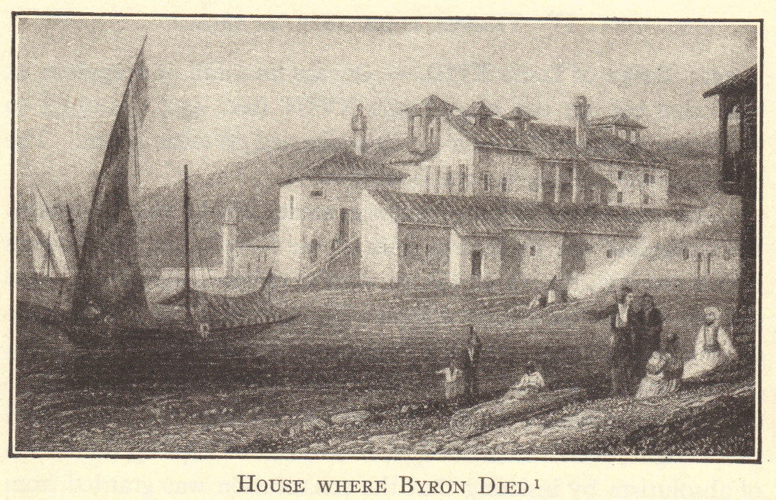 The house where English poet Lord Byron died.