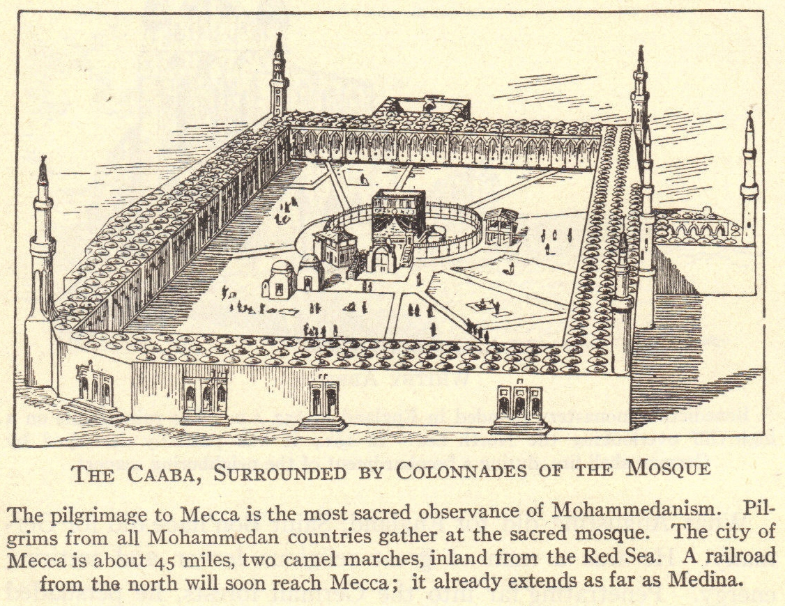 The Caaba, surrounded by colonnades of the mosque. The pilgrimage to Mecca is the most sacred observance of Islam (formerly called Mohammedanism). Pilgrims from all Islamic (Mohammedan or Muslim) countries gather at the sacred mosque. The city of Mecca is about 45 miles, two camel marches, inland from the Red Sea. A railroad from the north will soon reach Mecca; it already extends as far as Medina (as of 1922).
