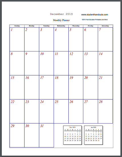Free Printable Blank Monthly Calendar Sheets - Select and print (PDF files).