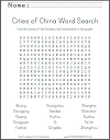 Chinese Cities Word Search Puzzle
