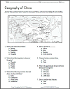 China Map Worksheet