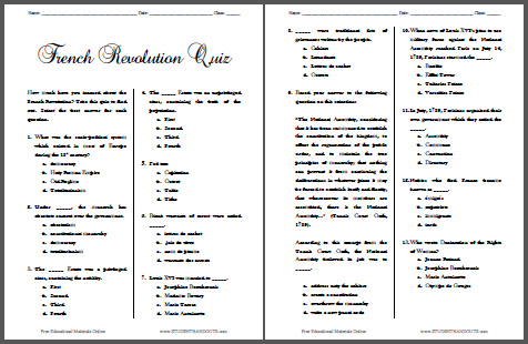 graphic regarding Free Printable Black History Trivia Questions and Answers identified as French Revolution Pop Quiz - Cost-free towards Print Pupil Handouts