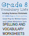 Grade 8 Vocabulary Terms and Worksheets