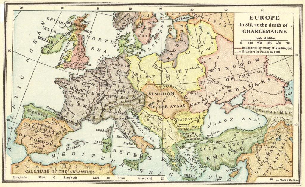 Map of Europe in 814 C.E., at the Death of Charlemagne