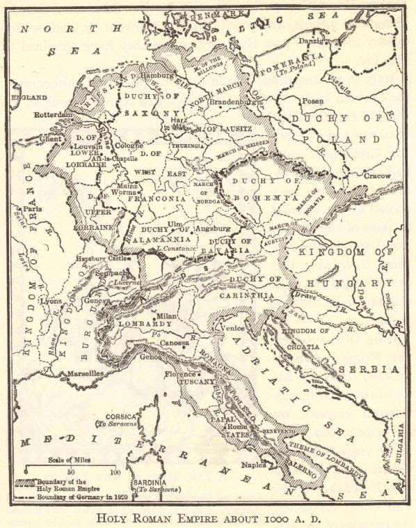 This map illustrates the Holy Roman Empire as it appeared around the year 1000 C.E.