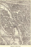 Portion of Old Paris, France, dating to the European Renaissance.  Drawing in style of a map or aerial photograph.