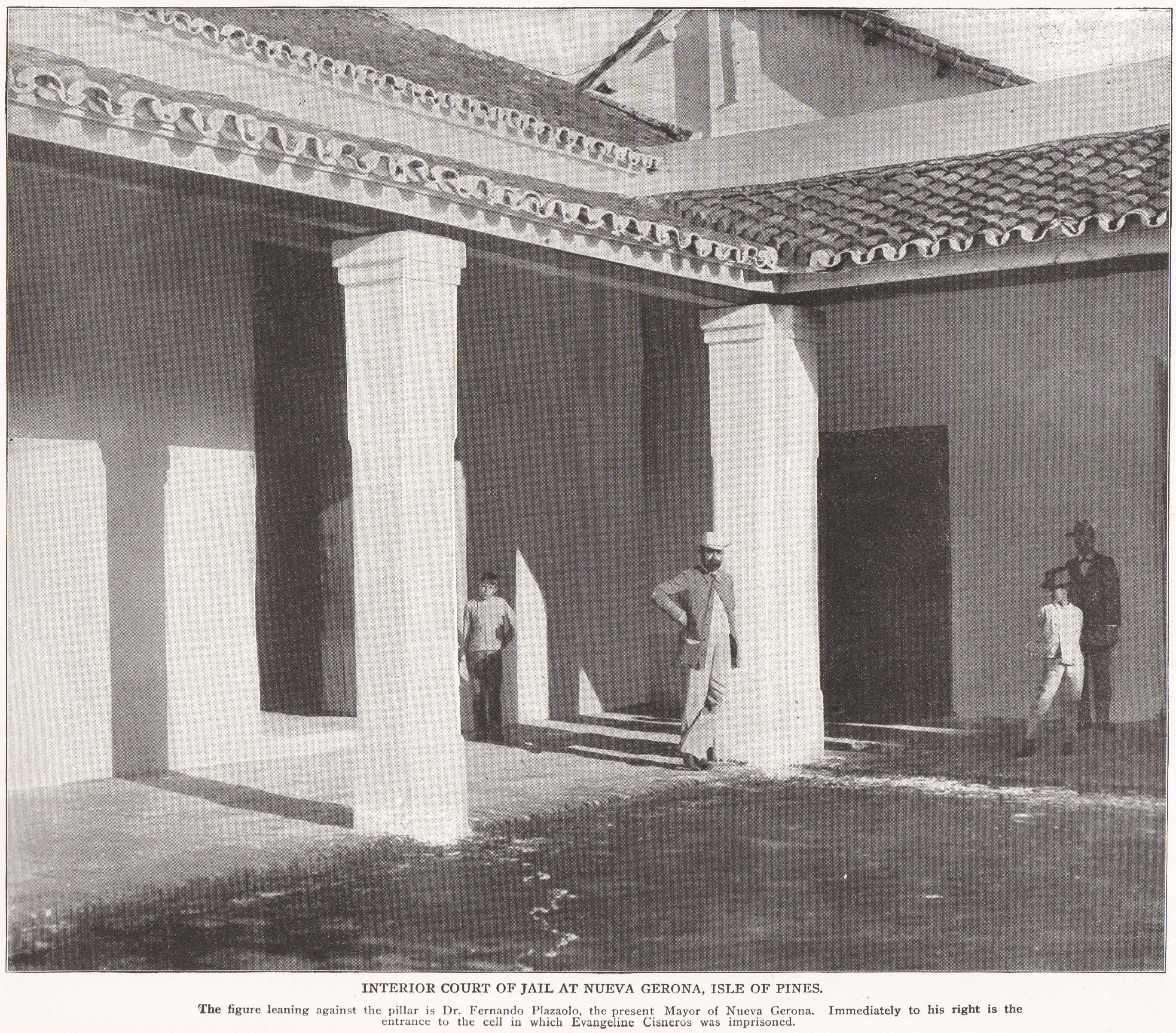 Interior Court of Jail at Nueva Gerona, Cuba (1898)